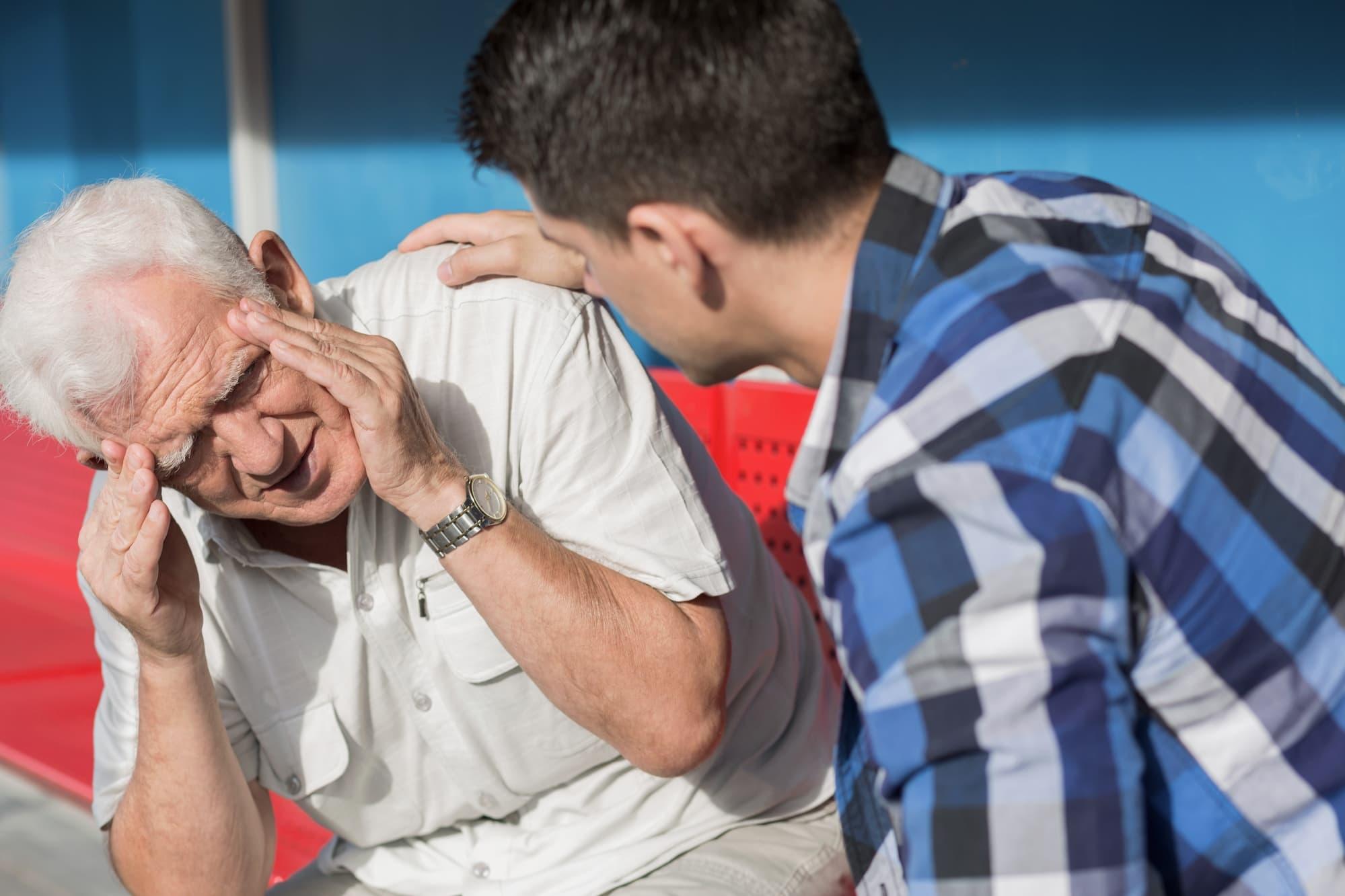 Elderly man suffering from Vertigo